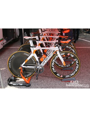 Euskaltel had some nice Orbeas on display but not the riders to put them to best use