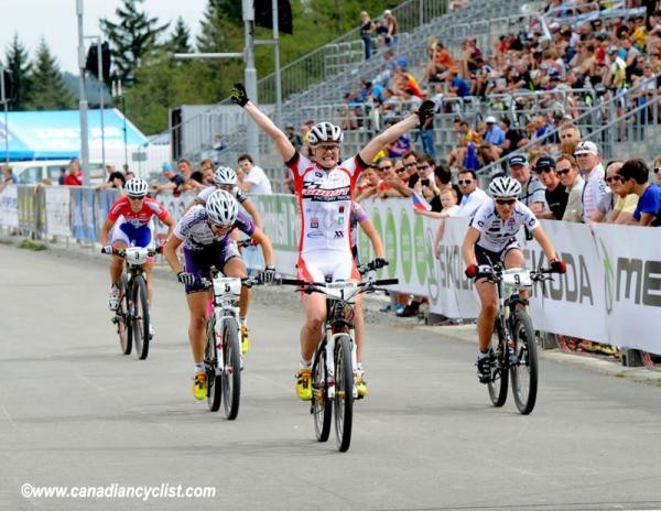 Alexandra Engen (Ghost Factory Racing Team) wins the women's Eliminator in Nove Mesto