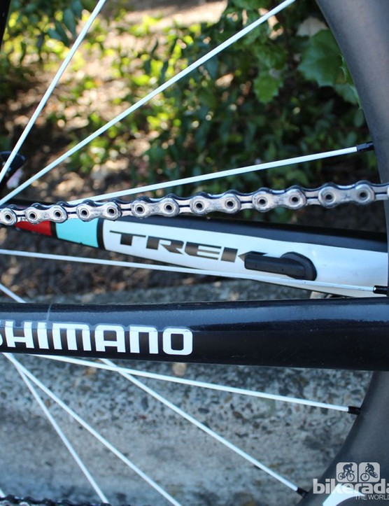 """One neat feature of the Madone is the integrated """"DuoTrap"""" wheel-speed and cadence sensor in the non-drive-side chainstay"""
