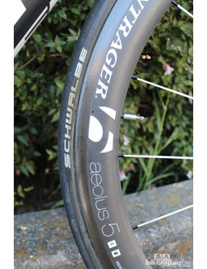 Being a Trek team, RadioShack-Nissan-Trek run Bontrager wheels, including this Aeolus 5 tubular with Schwalbe tire