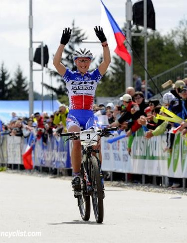 Julie Bresset (BH - SR Suntour - Peisey Vallandry) winning the cross country World Cup in Nove Mesto, Czech Republic