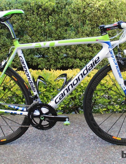 Peter Sagan's Cannondale SuperSix EVO Team features a lo-ong top tube