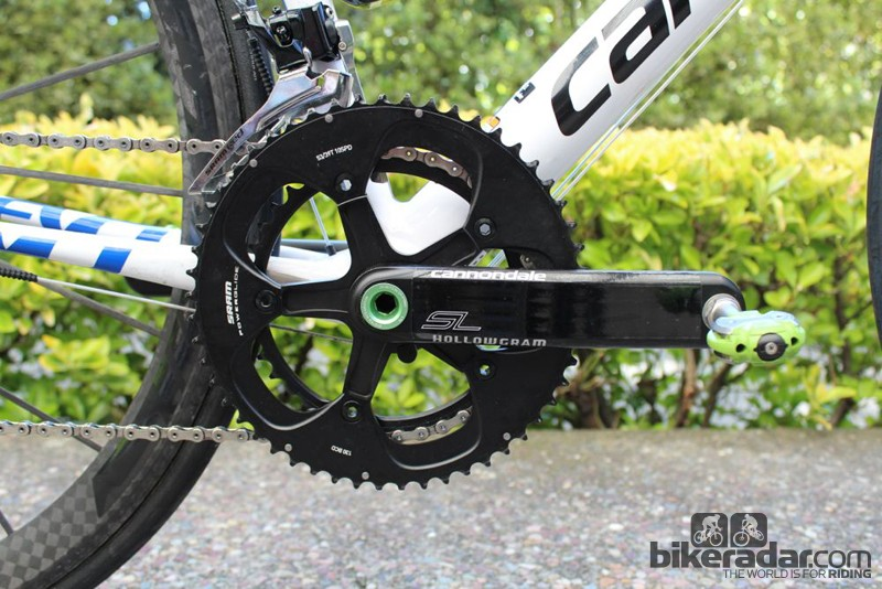 Steel is real. Here, Sagan has a 400g steel spindle to make his total bike weight race legal. Also, his SRAM Red derailleur has a SRAM Force steel cage branded Red