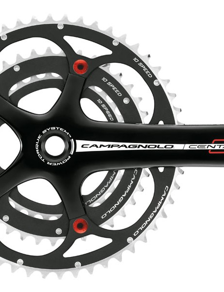 Centaur triple crankset with red bolts