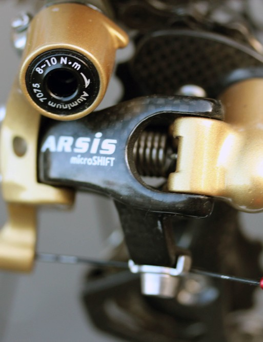Exergy uses microSHIFT Arsis shifters and derailleurs, with FSA cassettes and chains