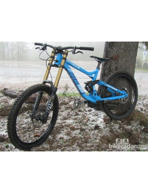 The Commencal Supreme DH v3 has been tweaked for 2012. Sadly we didn't get to ride it due to freak snow storm