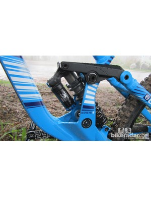 The Commencal Supreme DH v3 is fitted with a FOX RC4 Kashima shock
