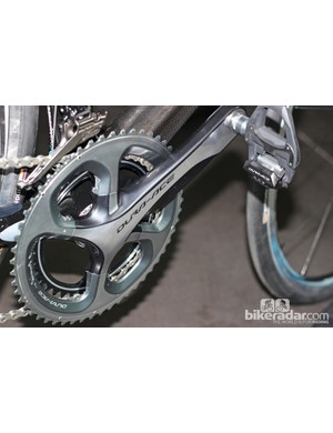 The chainset has a new four-arm design and scalloped crank arms but uses the same hollow technology for construction of both the cranks and outer chainring