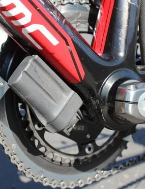 To power the Shimano Di2 drivetrain, BMC tucks the battery down low
