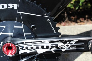 While Rotor is famous for its ovalized Q rings, it also makes round rings, like the 55/55 set-up Talansky has on his 3D+ crankset with an aero spider cover