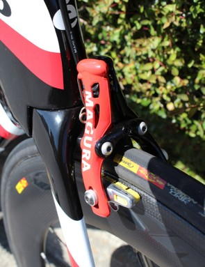 The P5 is the world's first production time trial bike with a hydraulic rim brake, courtesy Magura