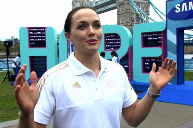 Victoria Pendleton at the launch of the Samsung Hope Relay