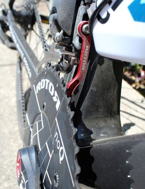 Rotor also provides the derailleur-mounted chain catcher – an almost-standard piece of equipment on pro bikes these days