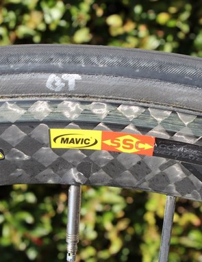 Mavic Cosmic Carbon Ultimate wheels are among the choices in Zabriskie's arsenal. The team allows its riders to select wheels (from Mavic) and also frames (Cervélo R series or the aero S series)
