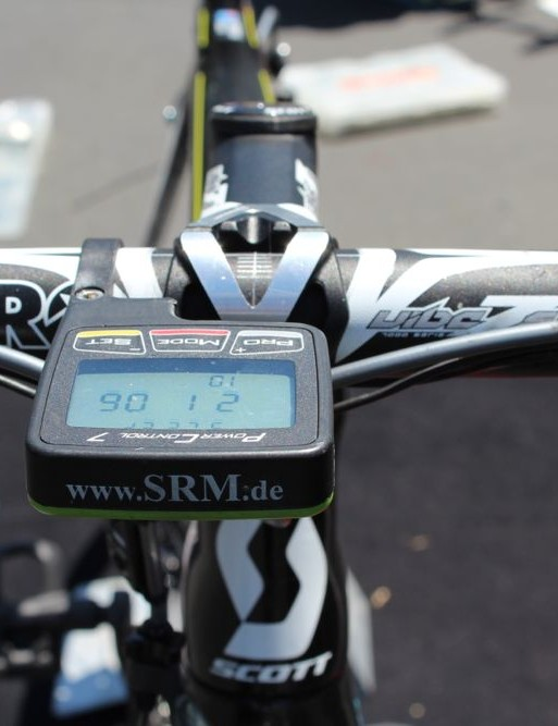 Like all top-level pros, McEwen has multiple bikes at each race. This one has an SRM computer on the handlebar but no SRM power meter on the crankset. This 'b bike' or '#2 bike' is kept on the team car in case of a mechanical during the race