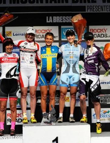Elite women's La Bresse eliminator podium: Rowena Fry, Alexandra Engen, Jenny Rissveds, Kathrin Stirnemann, Cecile Ravanel