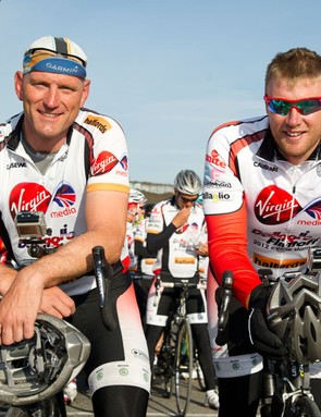 Dallaglio and Flintoff ready for the final leg of their journey, from Ashford to London