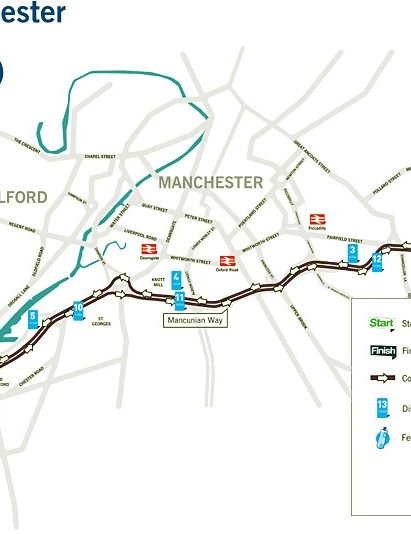 Route map for the Great Manchester Cycle