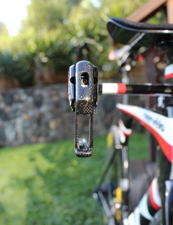 The brake lever doubles as a quick-release for wheel removal