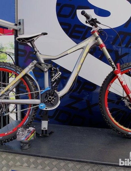 Danny Hart's World DH winning machine with development Schwalbe Tyres and DT Swiss wheels