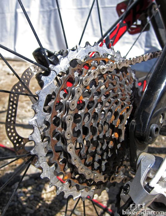 The heart of the XX1 1x11-speed drivetrain is this wide-ranging 11-42T cassette