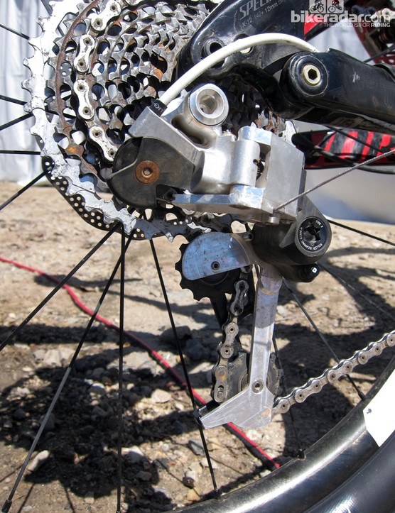 This prototype rear derailleur is quite chunky but production versions should be much sleeker