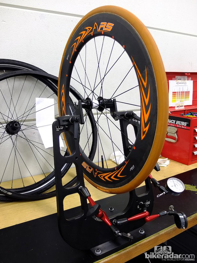 A racing wheelchair wheel with specific tubular tyre