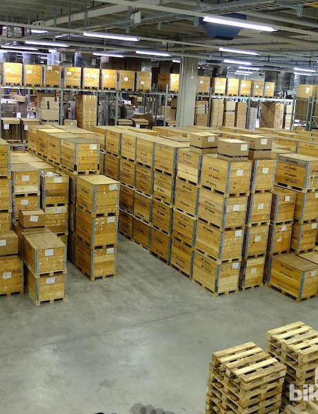 Part of the packed goods area in the warehouse