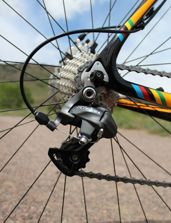 Similarly on the derailleur, the otherwise carefully protecting cable is exposed to the grime of cyclo-cross at its final junction