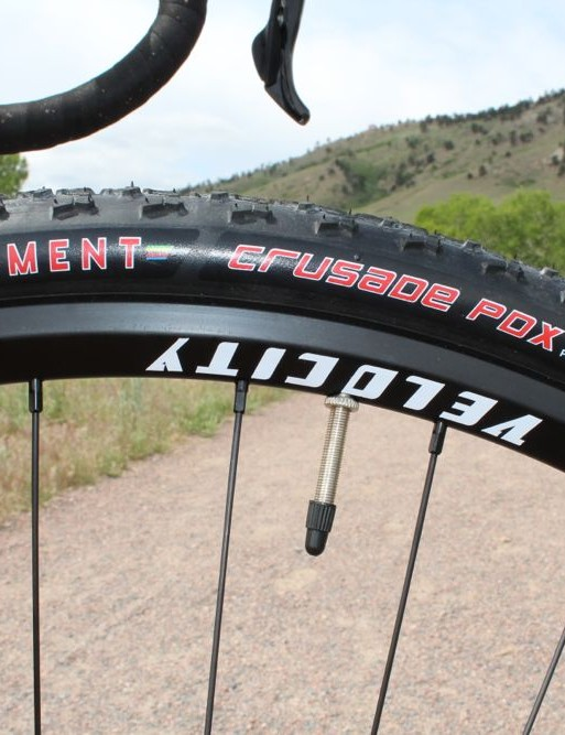 The X-Fire comes with decent Velocity Handbuilt wheels and better-than-decent Clément PDX clinchers