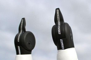 The return-to-center EPS shifters can shift one gear or 11, depending on how long the lever is held down