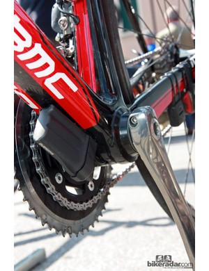 BMC normally sells the SLR01 Team Machine with a BB30 bottom bracket but since the team is sponsored by Shimano, those frames come from the factory with bonded-in adapters for press-fit cups