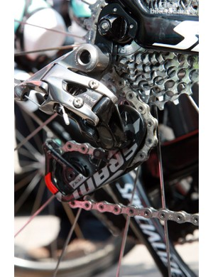 Francesco Chicchi's (Omega Pharma-QuickStep) new SRAM Red rear derailleur is affixed to a replaceable aluminum hanger on his Specialized S-Works Venge
