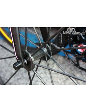 Ryder Hesjedal's (Garmin-Barracuda) ultralight Mavic R-Sys Ultimate wheels are built with tubular carbon fiber spokes bonded to a carbon fiber hub shell and carbon fiber low-profile carbon fiber rims. Teams have been riding these wheels for years but Mavic still has yet to announce a release date