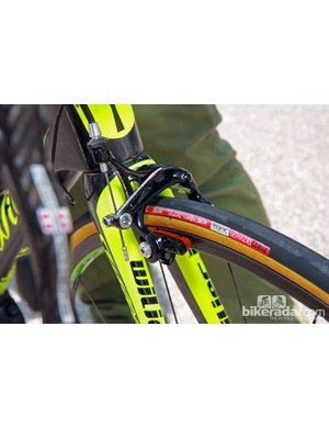Michele Scarponi (Lampre-ISD) opted for dual-pivot calipers front and rear on his Wilier Triestina Zero.7