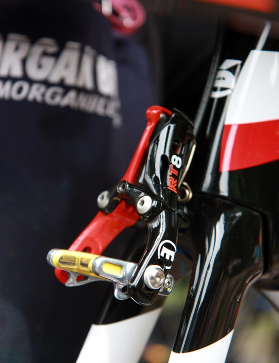 The brand-new fully hydraulic Magura MT8 rim brakes on Garmin-Barracuda's Cervélo P5 time trial bikes