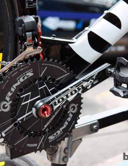 Rotor 3D+ crankarms with a solid TT-specific spider and elliptical Q-Rings on this Garmin-Barracuda team bike