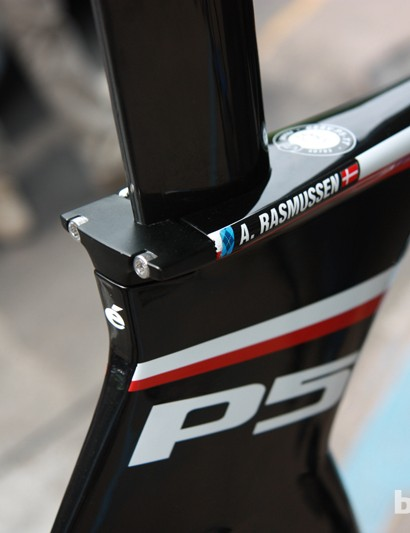 The seat clamp on Garmin-Barracuda's new Cervélo P5 frames is neatly integrated into the overall shape of the structure