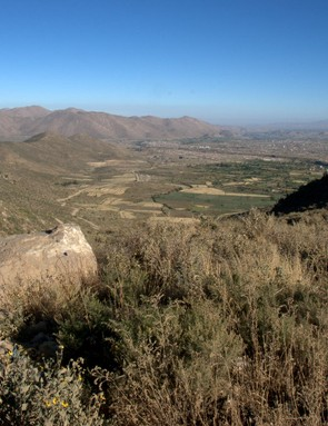 The gravel track making its way down the hill is the start of the return leg of the 'Foothills, Mollebaya' route