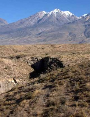 The Chachani volcano is very close to Arequipa, Peru