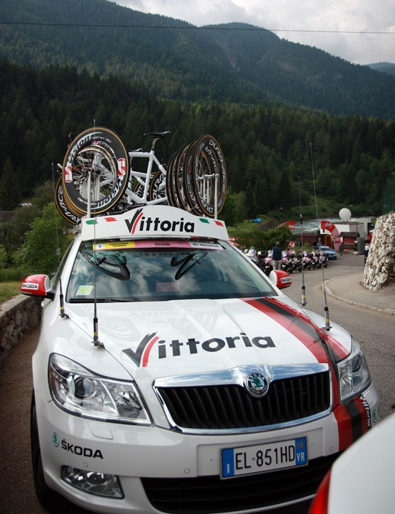 The BikeRadar office for Stage 20: Vittoria Servizio Corse car #2. The Skoda Octavia TDI wagon is roomy enough for people and gear, manuverable enough when things get sketchy, and the 2.0L turbodiesel engine was well up for the task with an impressive amount of punch.
