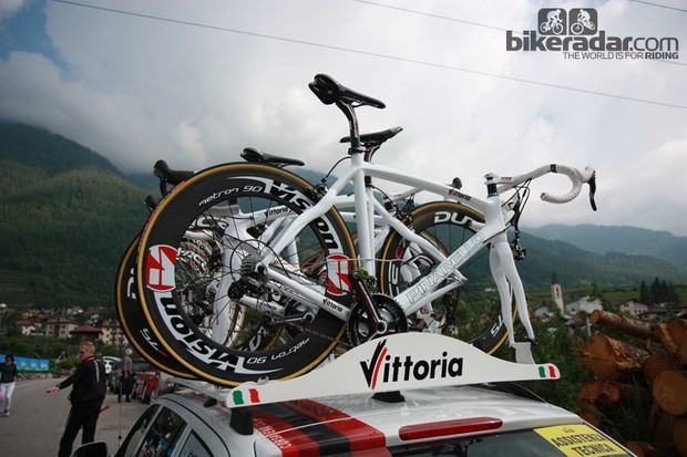 The Vittoria Servizio Corse bikes are typically only used for minutes at a time - just long enough until a rider can get a proper replacement from their own team car.