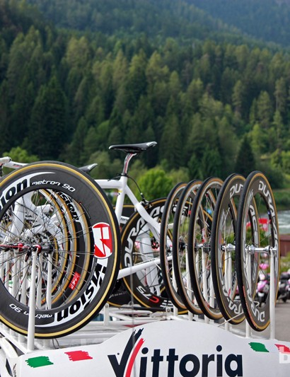 The Vittoria Servizio Corse crew usually does a number of wheel changes during any given road stage of the Giro d'Italia with a fleet of Shimano and Vision wheels at the ready. As it turns out, our car didn't have to swap any wheels during the stage but it was better to be prepared nonetheless.