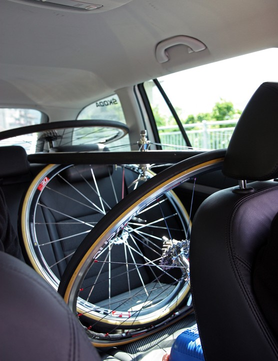 This is the typical arrangement of spare wheels in the rear of the car.