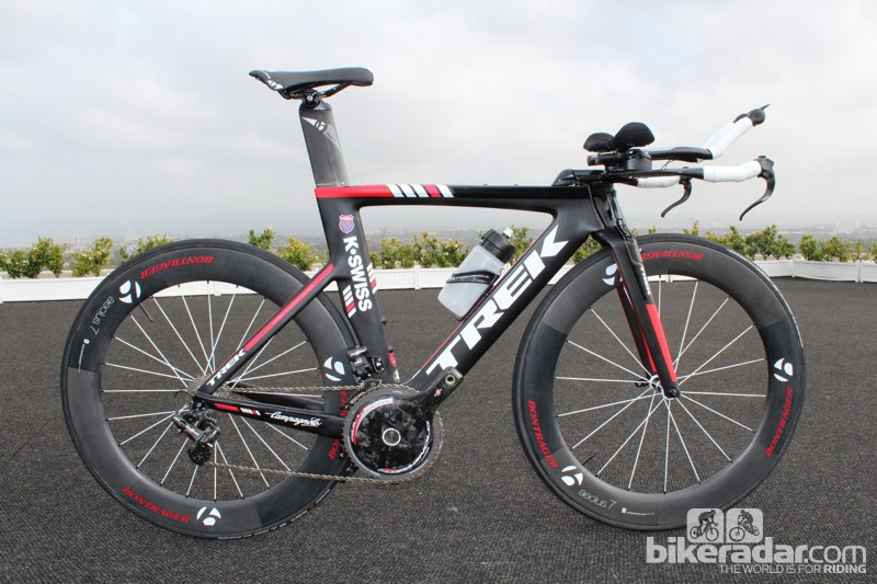 Campagnolo's new EPS group for time trial and triathlon applications, mounted on a Trek Speed Concept K-Swiss team bike