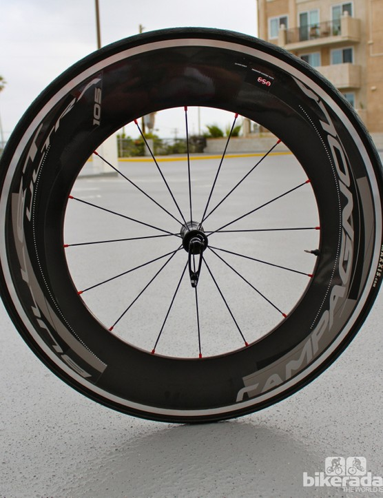 The new Campagnolo Bullet front wheel, with a 105mm rim