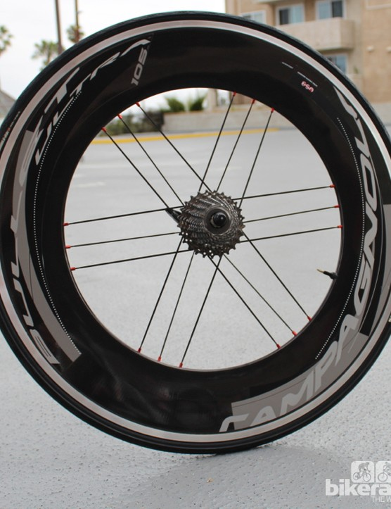 The new Campagnolo Bullet rear wheel, with a 105mm rim