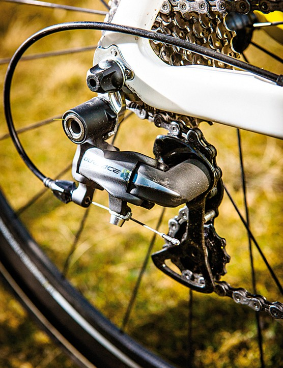 Shimano's standard transmission isn't electric but is still super slick and precise