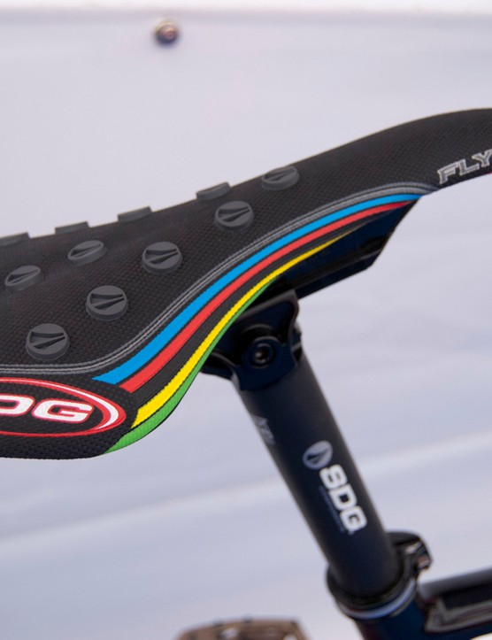 An SDG Storm saddle with a rainbow stripe to remind you of the bike's pedigree