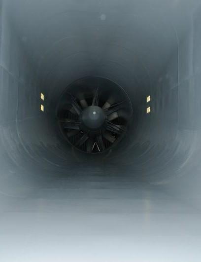 The wind turbine of the Lexus Europe wind tunnel